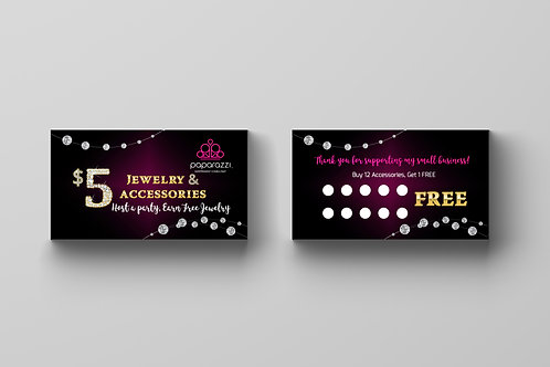 Paparazzi accessories business card loyalty card diamonds