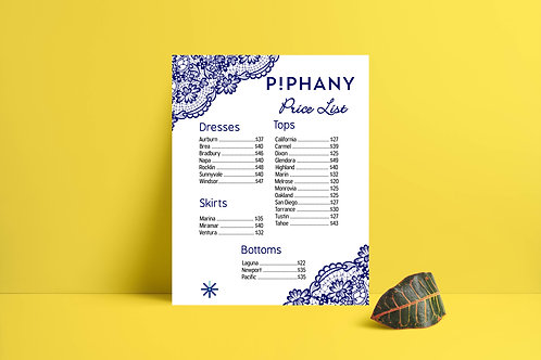 Piphany Price List instant download