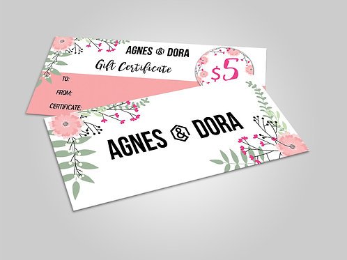 Gift certificate Agnes and Dora floral instant download