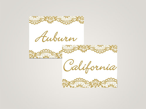 Honey & Lace Name Cards, Golden Lace