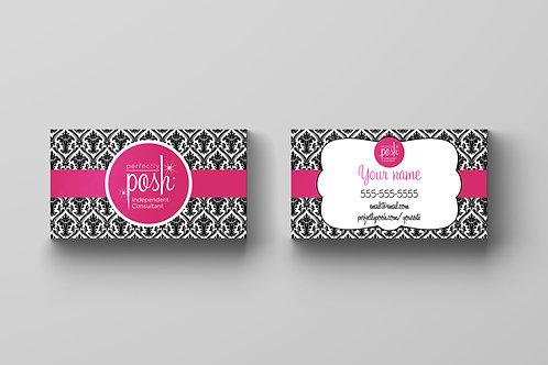 Perfectly Posh business card Damask