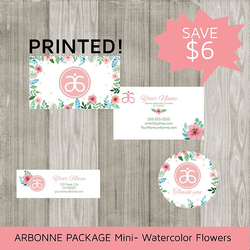 Mini marketing package Arbonne watercolor floral printed