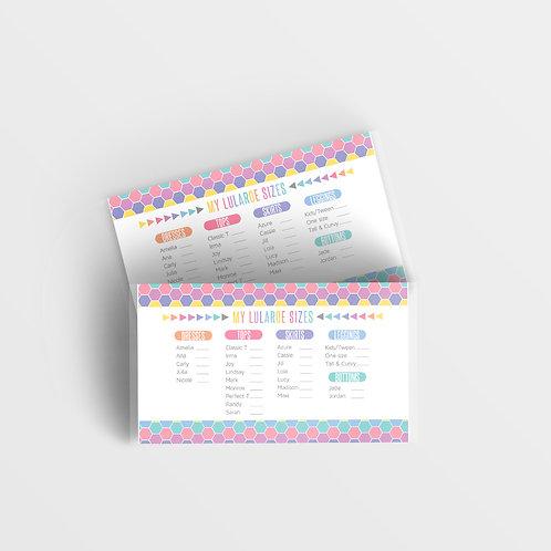 Lularoe size card printable honeycomb