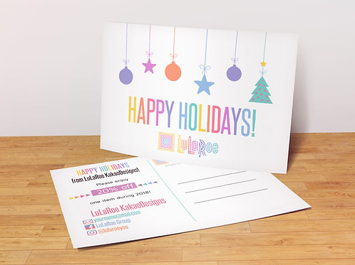 Happy Holidays Lularoe Postcard with coupon