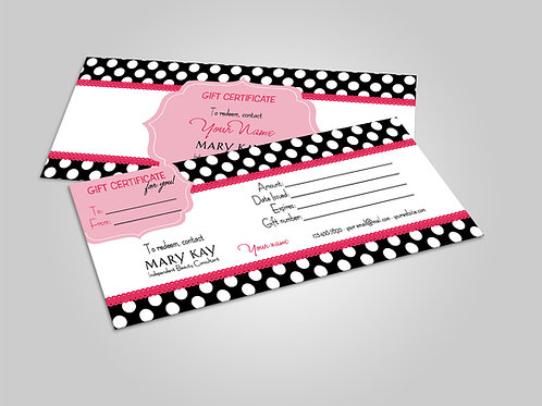 Mary Kay gift certificate black polka dots
