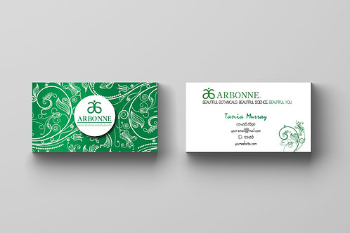 Arbonne green flower business card