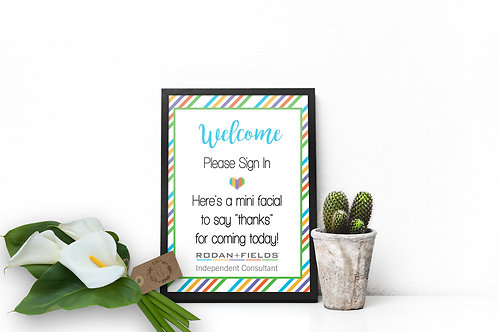 Welcome wall art Rodan Fields mini facial