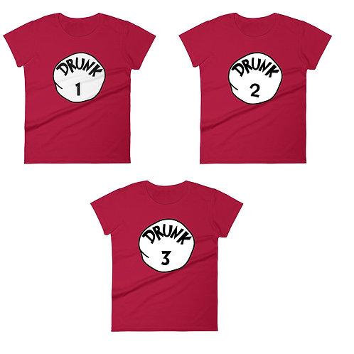 Drunk 1 Drunk 2 Drunk 3 matching t-shirts digital download
