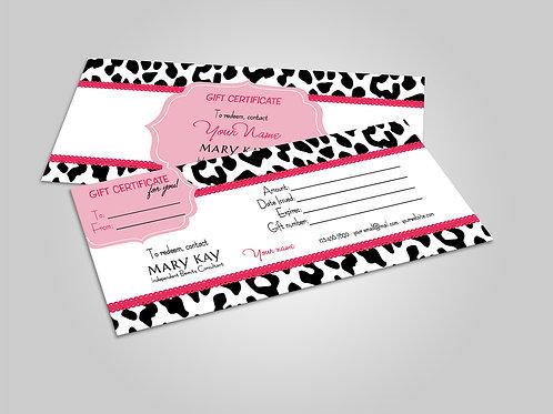 Mary Kay gift certificate animal print