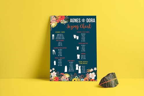 Agnes and Dora Sizing chart floral design