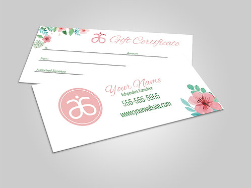 Arbonne gift certificate watercolor