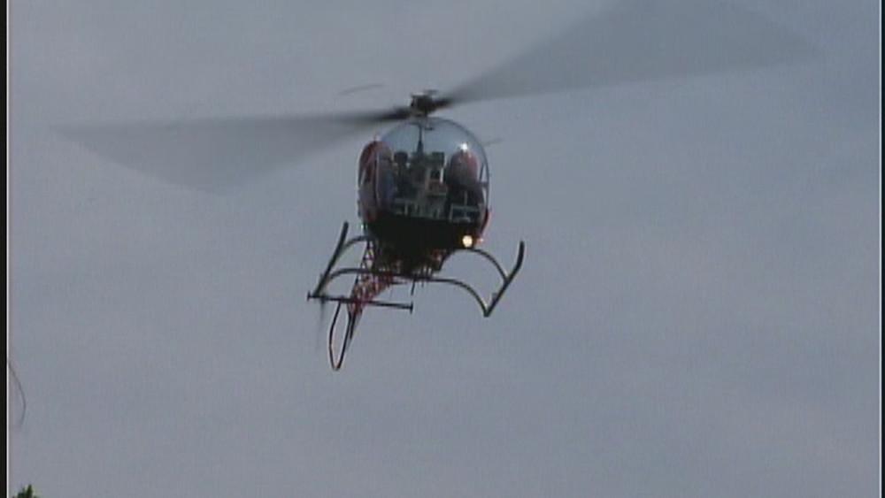Adam West arriving in Batcopter