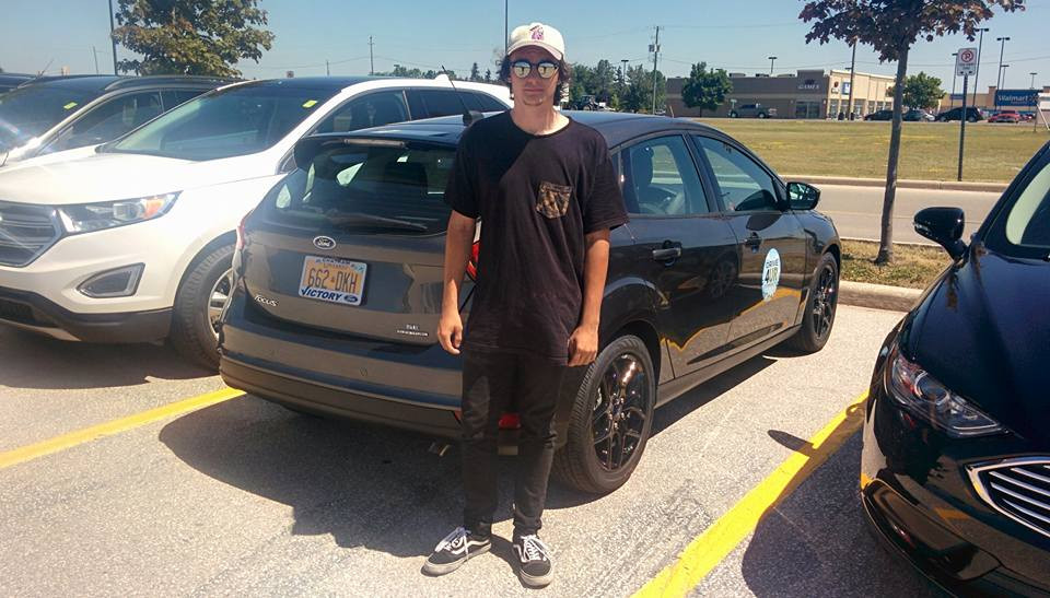 """Ryan Walker test drives Ford Focus at the Victory Ford """"Drive Event"""" in Chatham-Kent."""