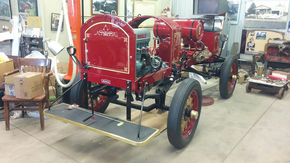 1917 Bickle Fire Pumper. Antique will be on display at Frankenmuth Fire Muster. Restored in Blenheim Ontario by Classic Coachworks.