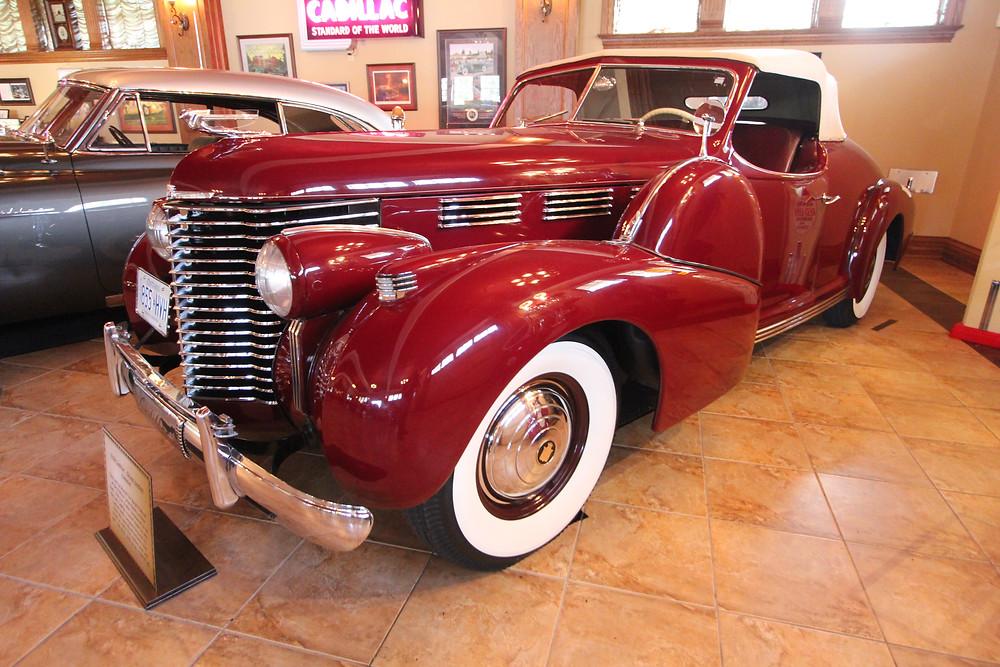 Steve Plunkett's 1938 Cadillac Roadster, originally built for Ralph Pulitzer.  346 Cubic Inch V8 produced 130 Horsepower.
