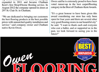 Owen Flooring has won runner up - Best Carpet and Flooring Store