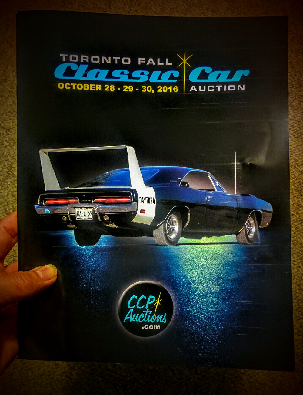 Photo of the catalog for this weekend's Fall Classic Car Auction of Toronto, produced by CCP Auctions.