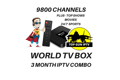 3 MONTH - 9800  CHANNEL SUPER TV BOX COMBO
