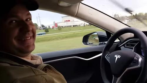 Joshua Brown in his Tesla from a video showing one of his self driving car test drives. Brown is the first to die in a crash that may have been related to autonomous driving technology.