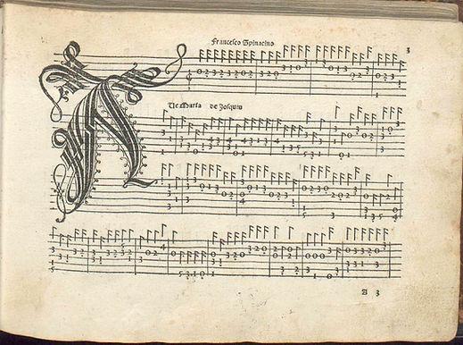 1507 Italian lute tablature — Francesco Spinacino