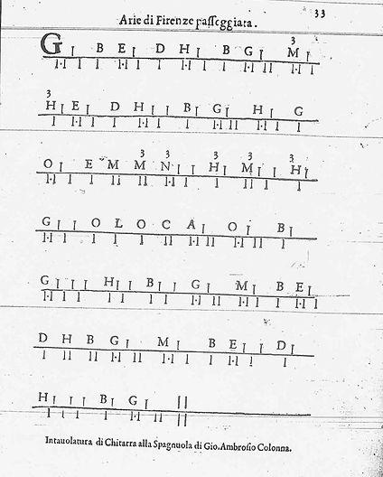 1620 Baroque guitar tablature — Giovanni Ambrosio Colonna