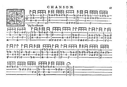 1570 French renaissance guitar tablature — Phalèse et Bellère