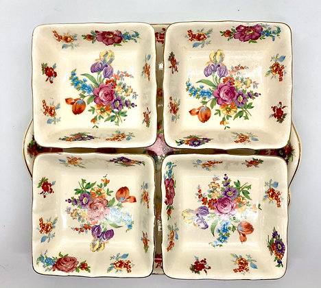 Vintage Floral Square Plate With Four Matching Square Bowls From Japan
