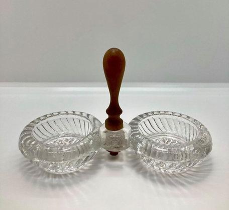 Vintage Crystal Double Salt Cellar with Wood Handle