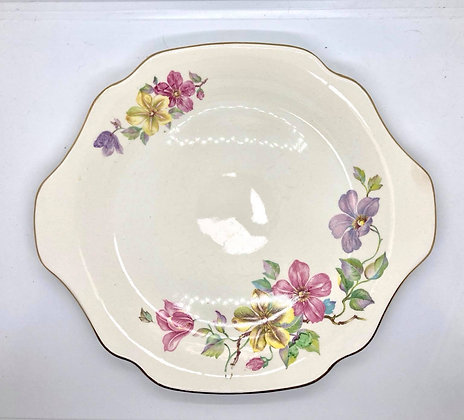 Delicate Hand Painted Floral Cake Plate