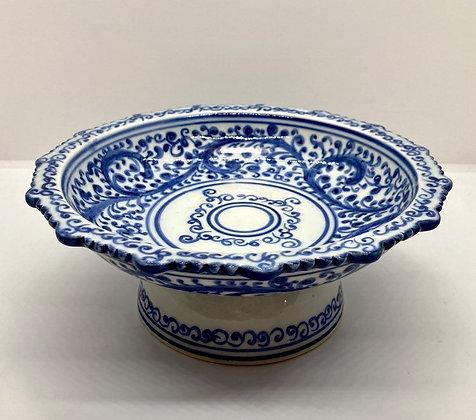 Gorgeous Blue Scroll Pedestal Bowl