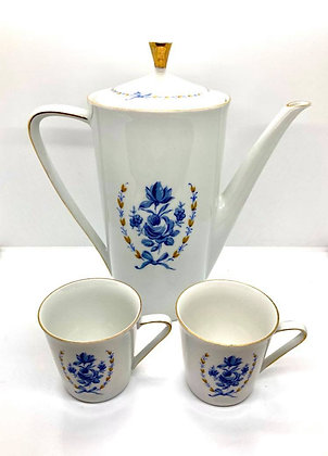 Sweet Blue Danube Coffee Pot and Pair of Cups by Mitterteich, Bavaria Germany