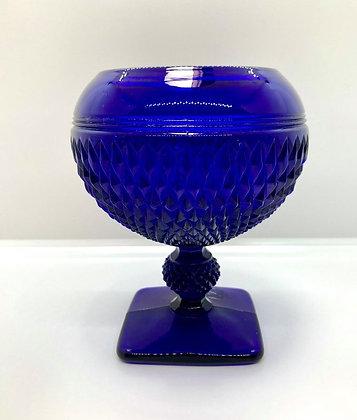 Cobalt Blue Depression Glass Pedestal Bowl