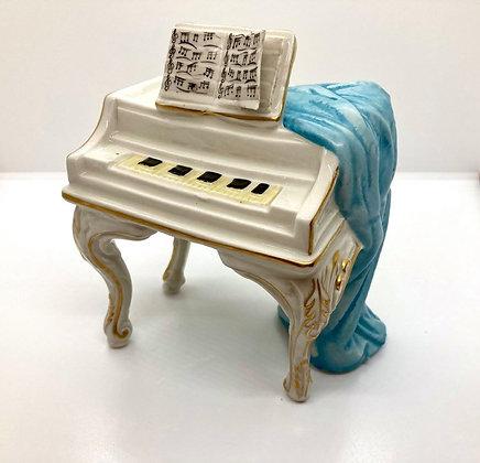 Decorative White Porcelain Piano with Draped Fabric Figurine