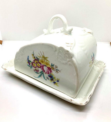 Antique Floral Covered Cheese Keeper