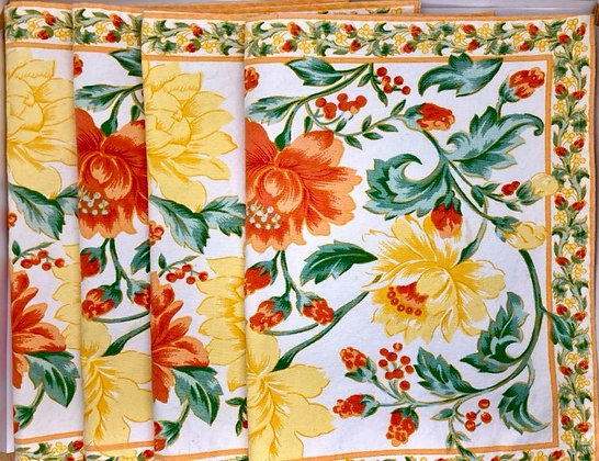 Set of 4 Cotton Embroidered Flower Placemats