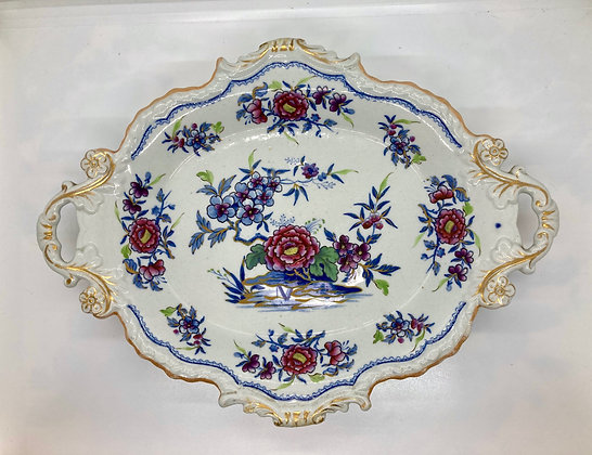 Ornate Hand Painted Antique Stone China Platter