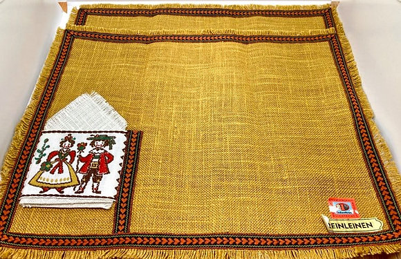 Vintage Mustard Yellow Linen Placemats