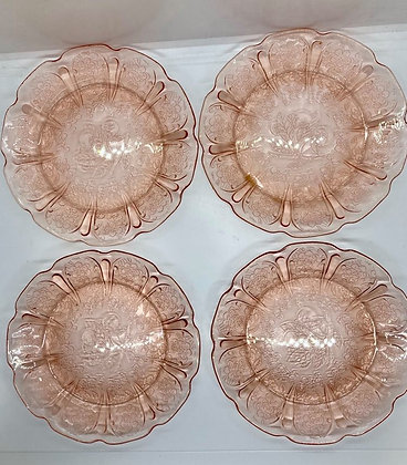Peach Blush Etched Glass Appetizer or Dessert Plates