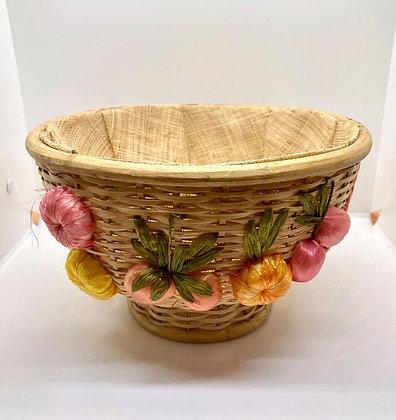 1970's Vintage Woven Raffia Fruit and Flower Round Basket