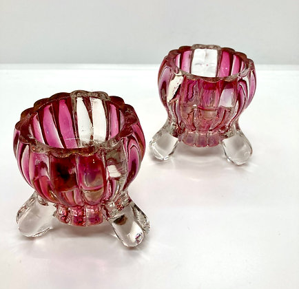 Pair of Vintage Pink and Clear Glass Footed Candle Votive Holders