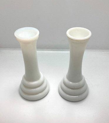 Pair of Anchor Hocking Milk Glass Bud Vases