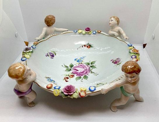 Von Schierholz Germany Porcelain Centerpiece Bowl w/ 4 Cherubs Children Bouquet