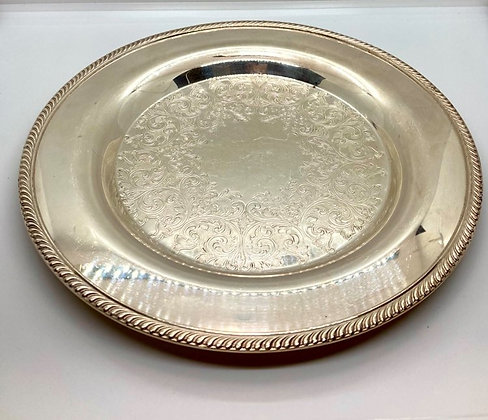 Haddon Silver Round Serving Tray
