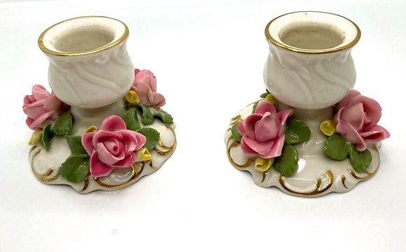 Dresden from England Rosebud Candleholders