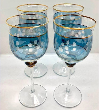Set of 4 Iridescent Blue Bohemian Ornate Wine Glasses