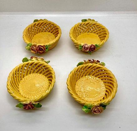 Mini Italian Yellow Lattice Ceramic Baskets with Roses