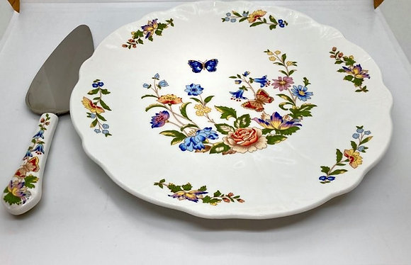 """Aynsley """"Cottage Garden"""" Cake Plate and Server"""