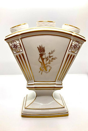 Elegant Porcelain 3 hole Vase with Quiver and Arrows Painted in Gold