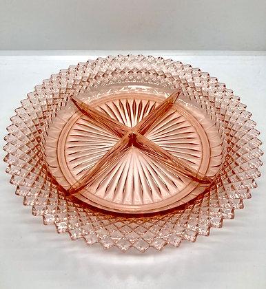Vintage Miss America Pink Depression Glass Divided Relish Dish