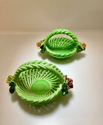 Mini Italian Green Lattice Ceramic Baskets with Rose Detail